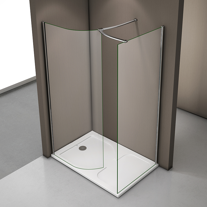 Walk In Wet Room Shower Enclosure And Tray 6mm Curved