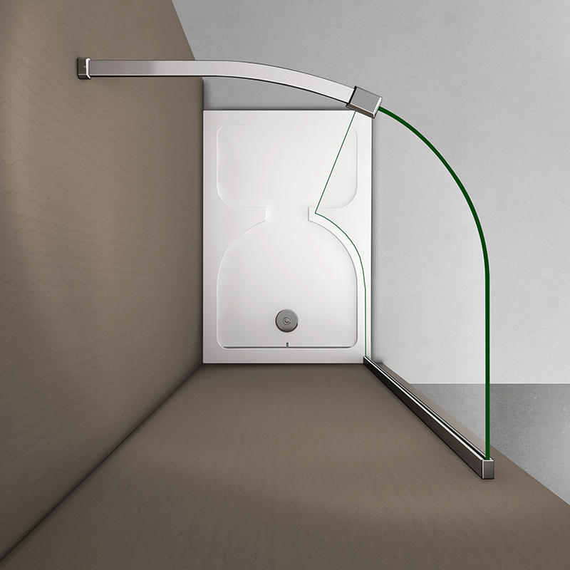 Luxury walk in shower enclosure tray 6mm curved screen for Shower cubicle shelves