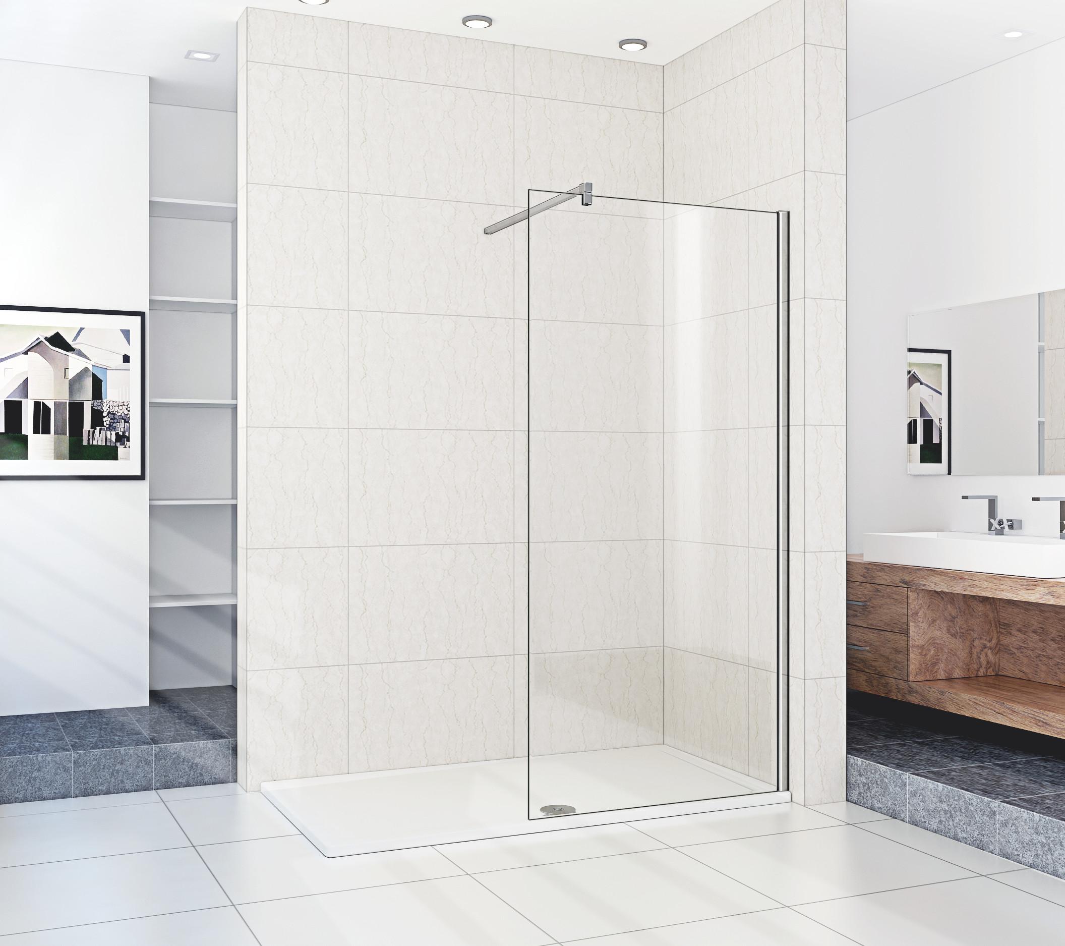 New wet room walk in shower enclosure glass screen door Shower glass panel