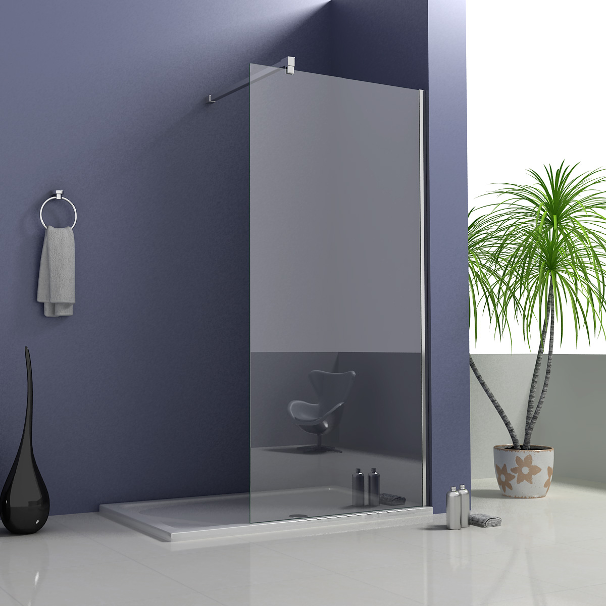 760x1850mm shower enclosure walk in wet room cubicle for Wet room shower screen 400mm