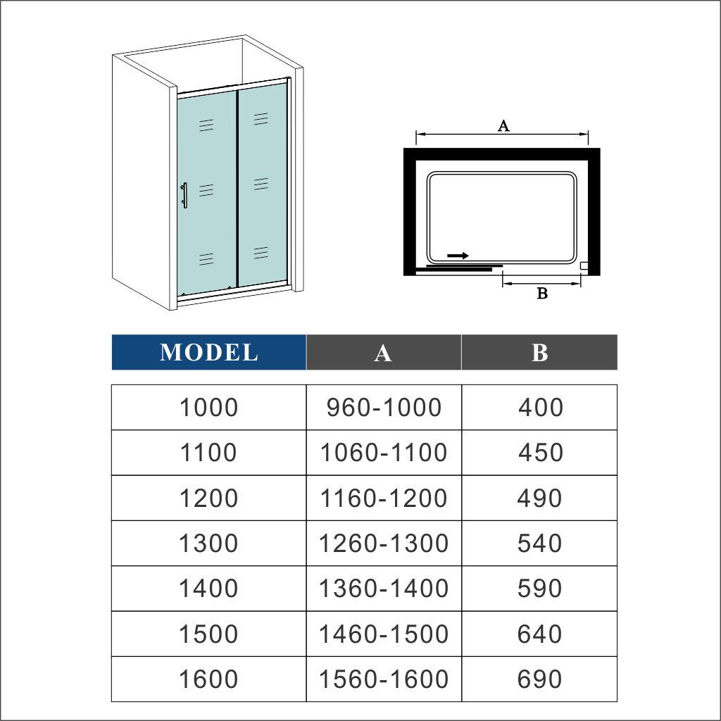 Walk In Sliding Shower Door Enclosure Glass Screen Cubicle