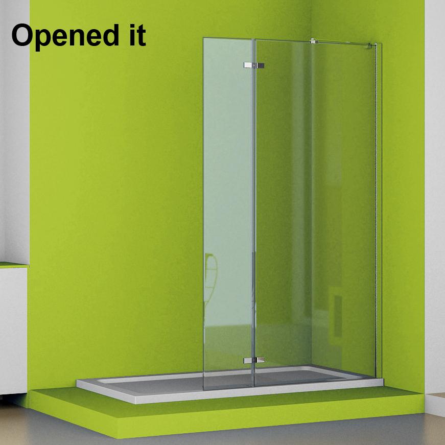Walk In Tall Folding Shower Enclosure Wet Room 6mm