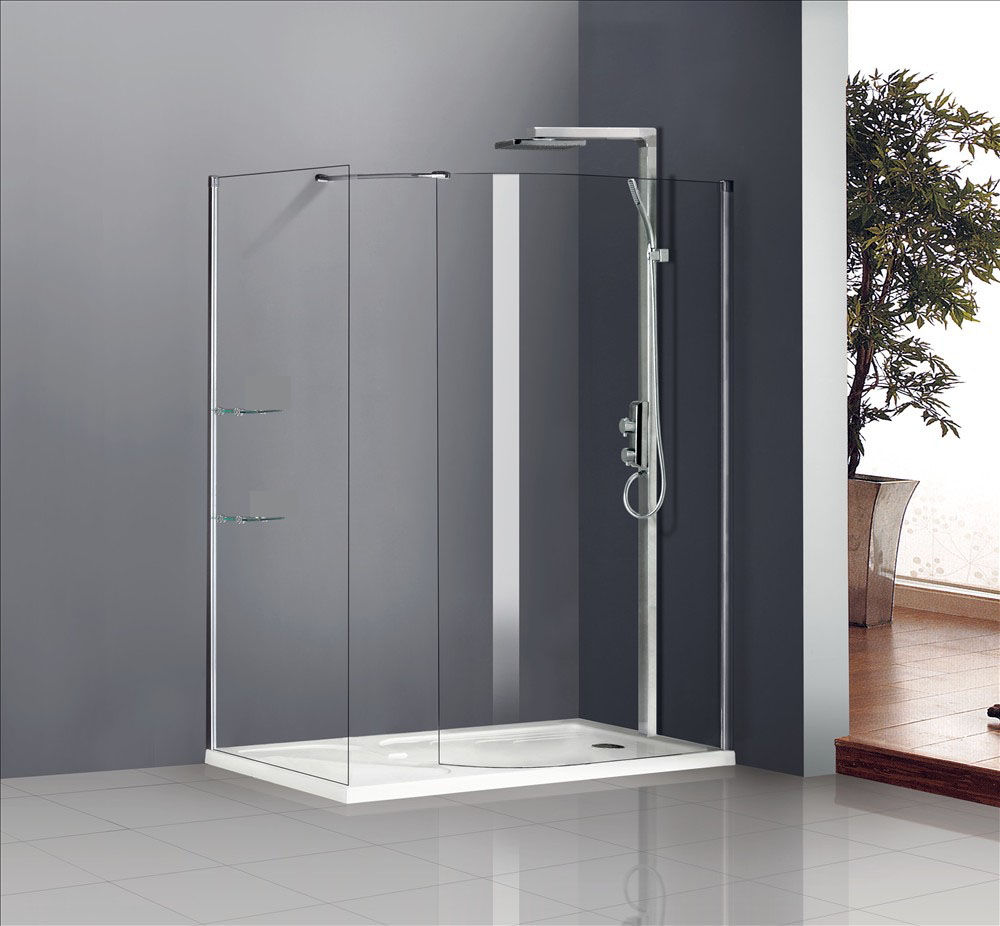 Walk in shower enclosure curved glass screen with polished chrome 794x1850mm ebay - Walk in glass shower enclosures ...