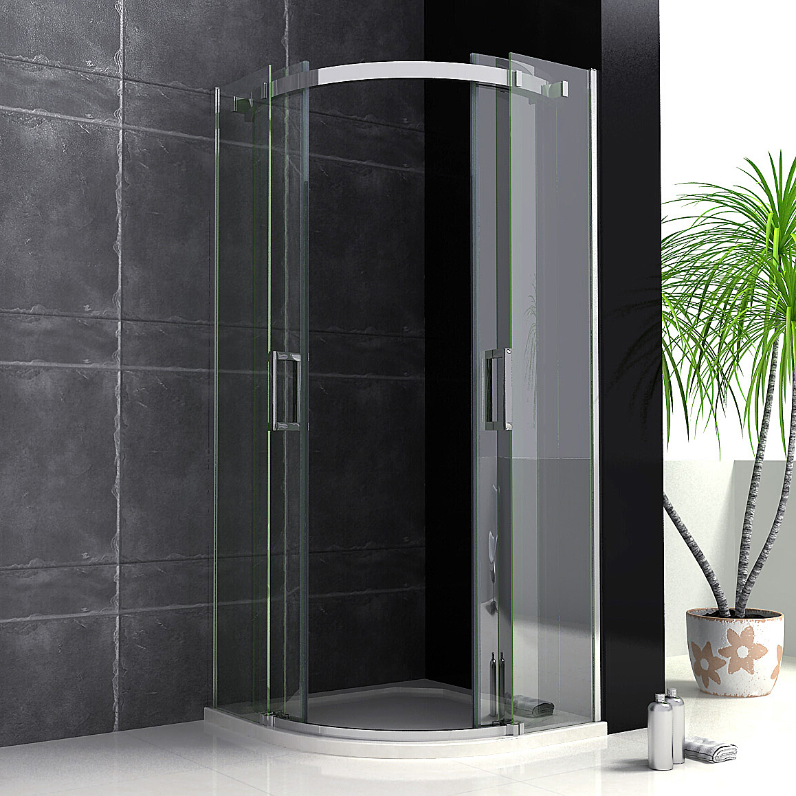 Luxury quadrant shower enclosure tray walk in corner cubicle 8mm easyclean glass ebay - Luxury shower cubicles ...