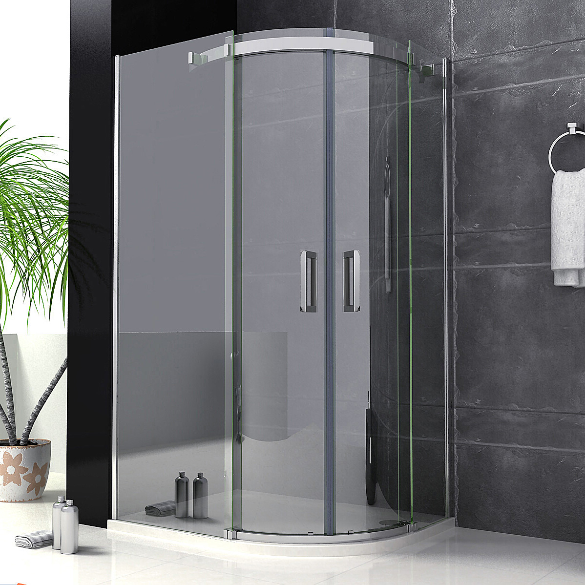1200x900mm Luxury Walk In Quadrant Shower Enclosure Sliding Glass Door Cubicl