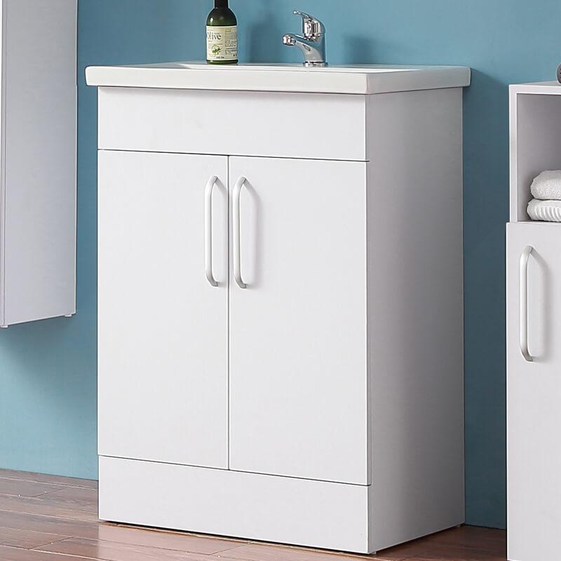Bathroom Vanity Unit Basin Sink Storage Floor Standing Cabinet 600mm Matt White Ebay