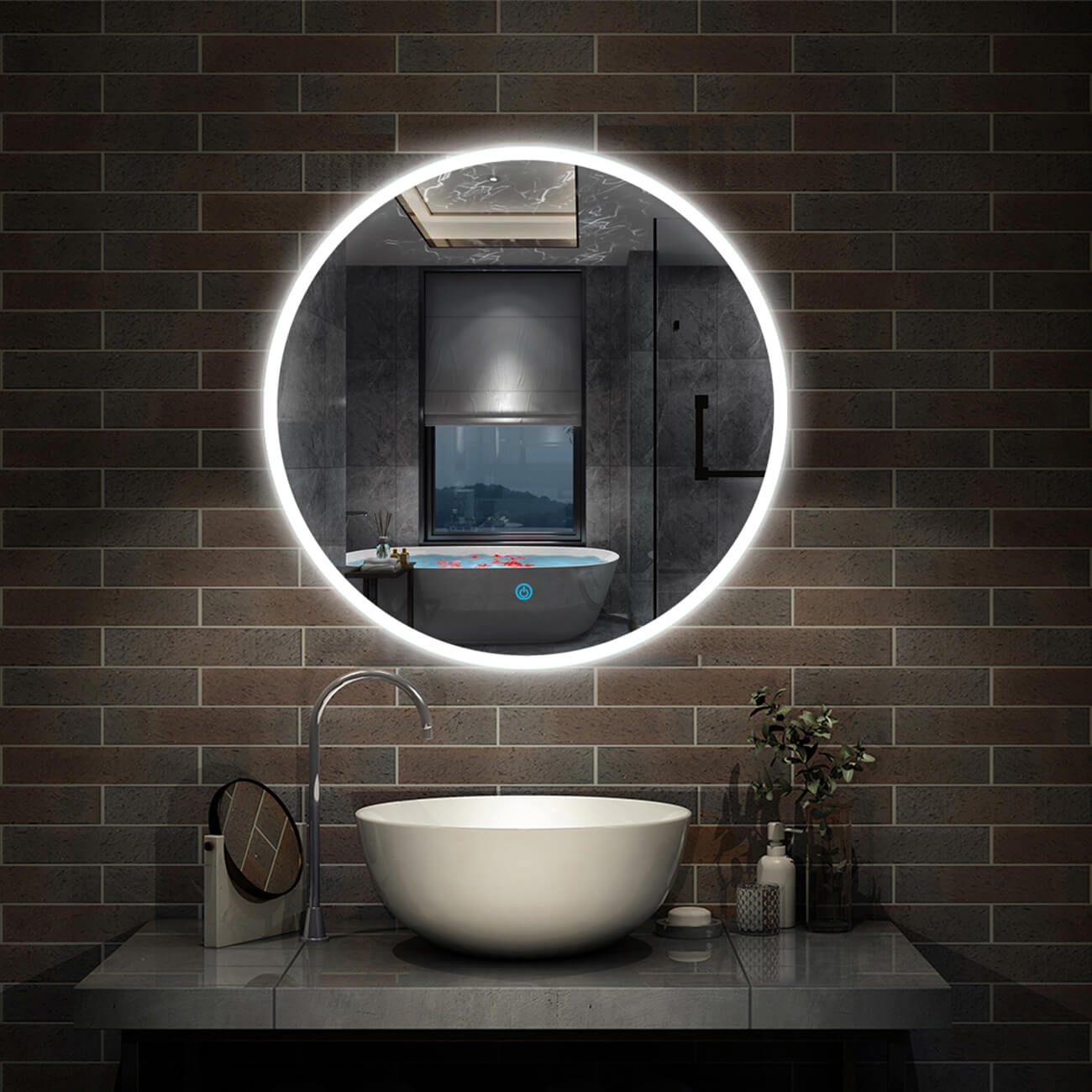 Picture of: Round Led Bathroom Wall Mirror Demister Illuminated Light Up 600×600 Waterproof 5282368200260 Ebay
