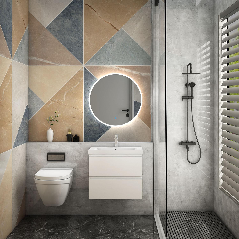 Round Illuminated Bathroom Mirror With Demister 600x600 700x700 800x800 Circle Ebay