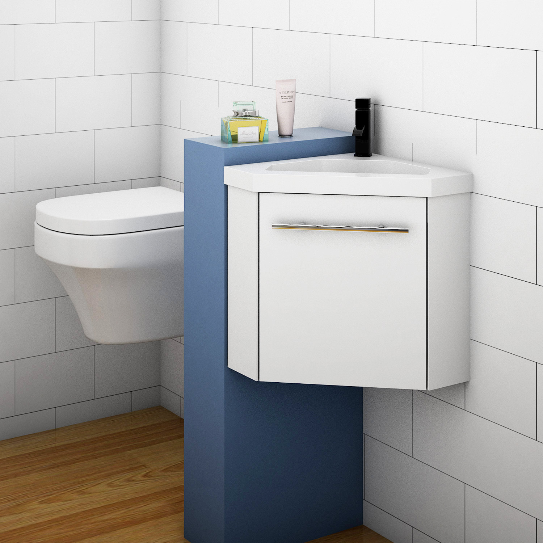 Bathroom Cloakroom Corner Vanity Unit Basin Sink Small Wall Hung Sink Cabinet Ebay