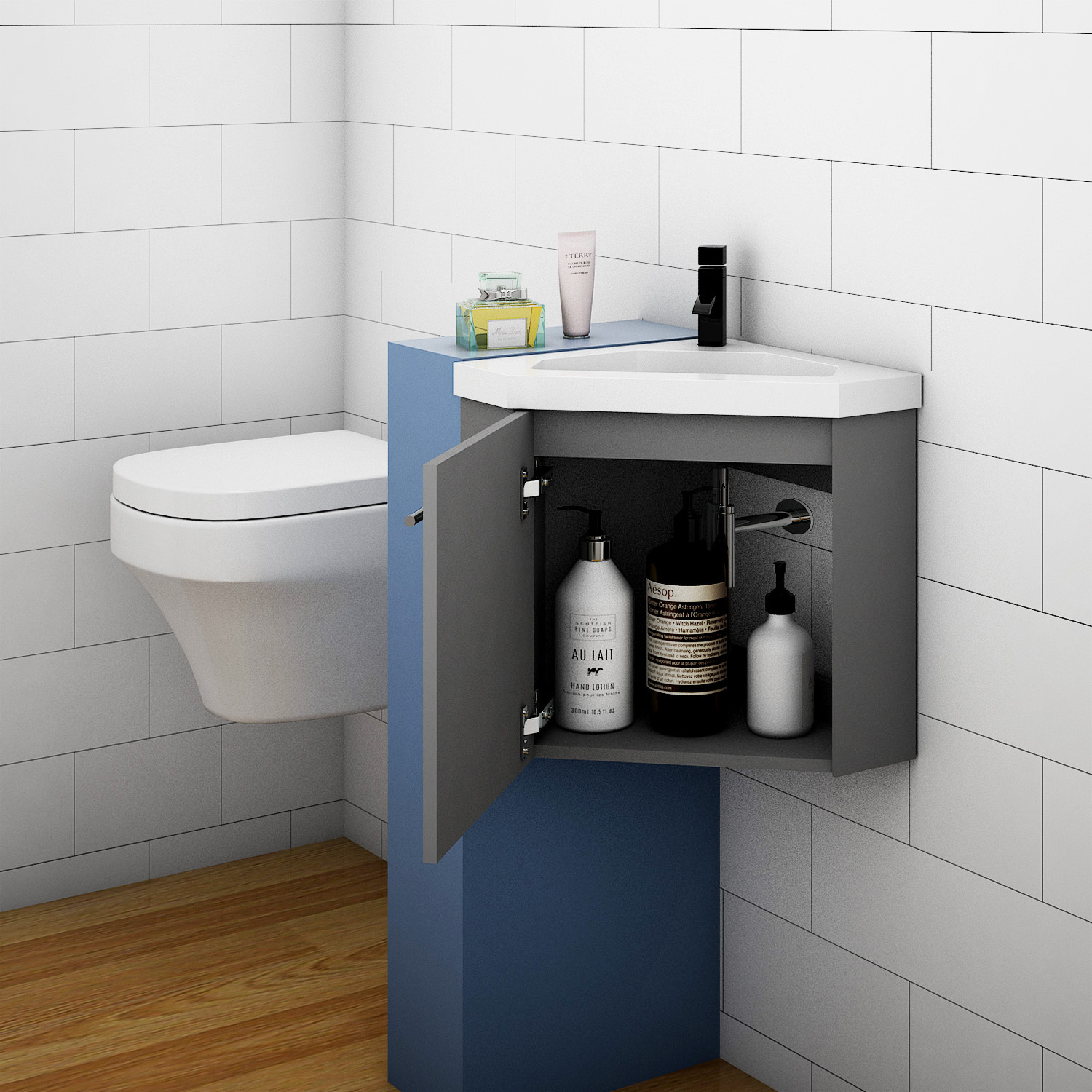 Bathroom Cloakroom Corner Vanity Unit Basin Sink Small ...
