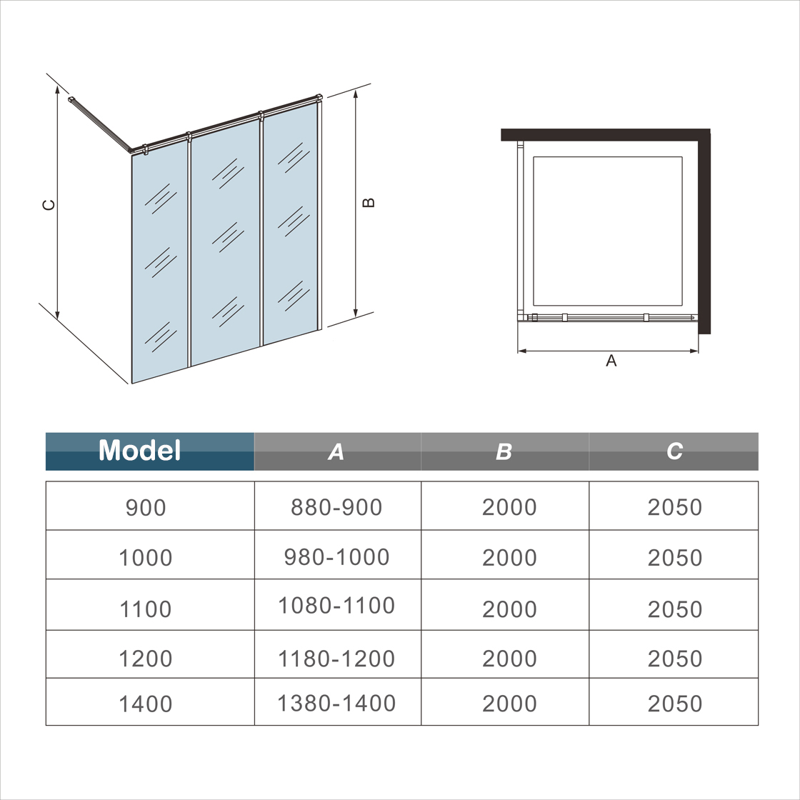 1200x2000 Wet Room Shower Enclosure Mirror Glass Screen