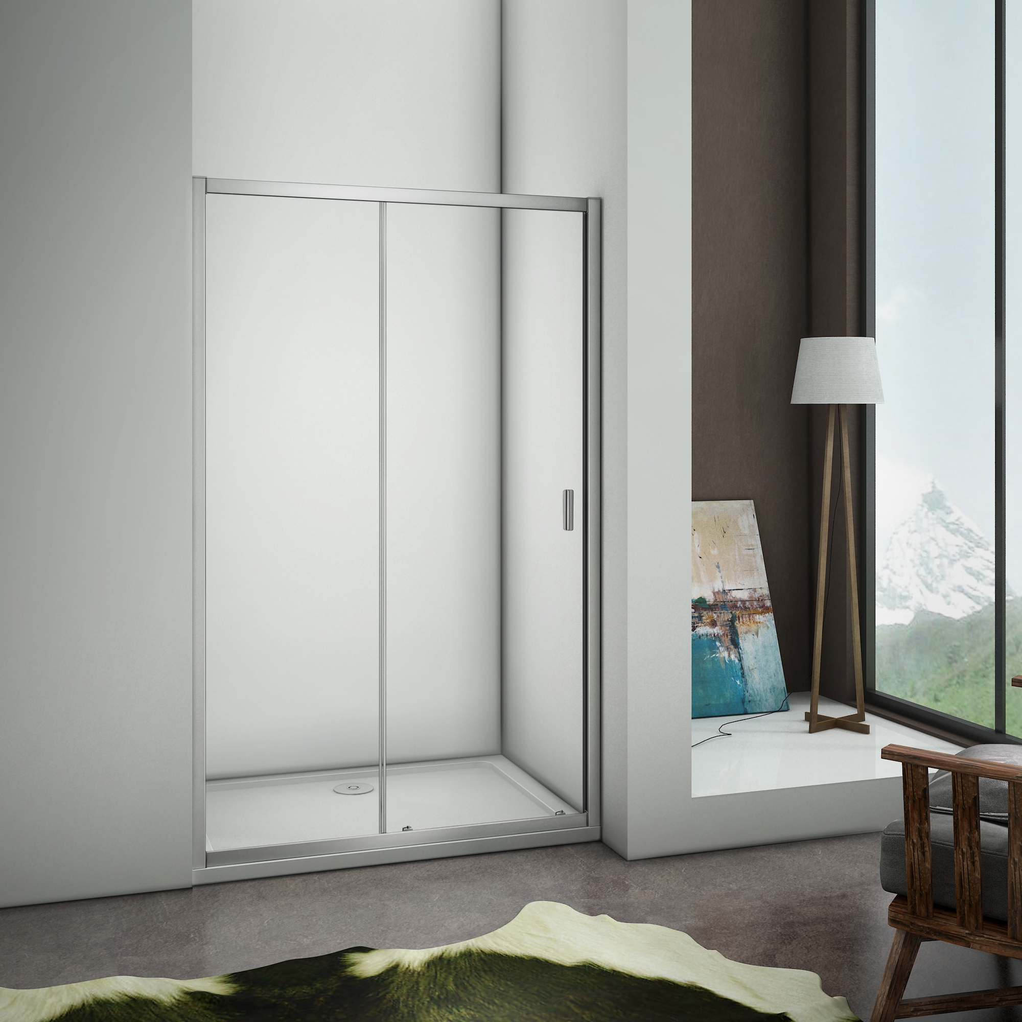 Quadrant sliding corner entry walk in shower enclosure for 1300 sliding shower door