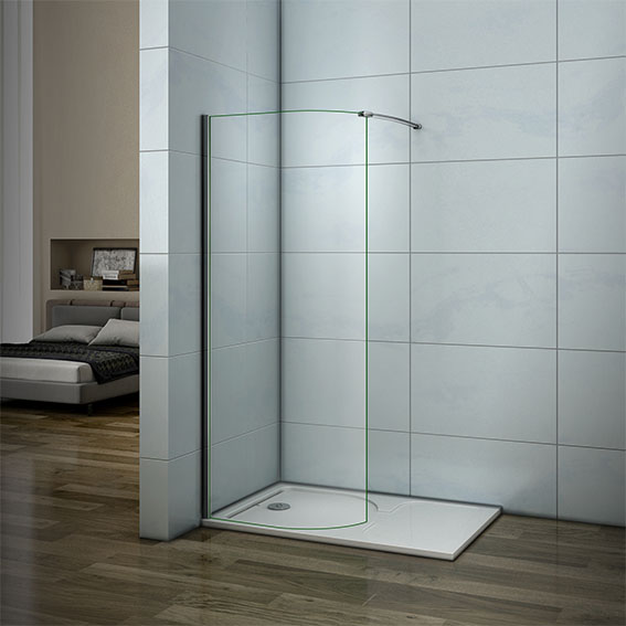 Walk In Wet Room Shower Enclosure And Tray 6mm Curved Glass Cubicle Screen Ebay