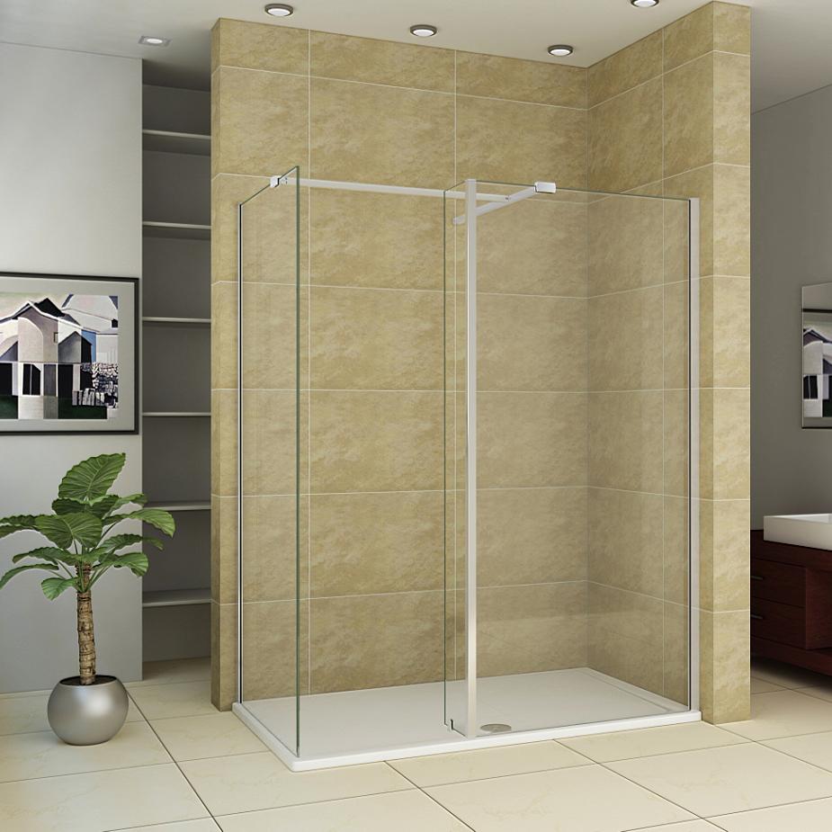 2000 L-Shape Wet Room Shower Enclosure Glass Screen Fixed Panel ...