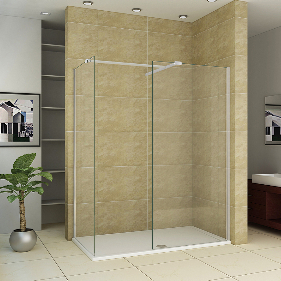 1700x760mm Stone Tray Walk In Shower Enclosure Wet Room Side Panel ...