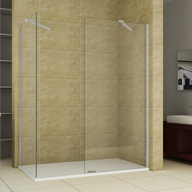Aica Walk In Shower Enclosure Wet Room Easy Clean Screen Panel ...