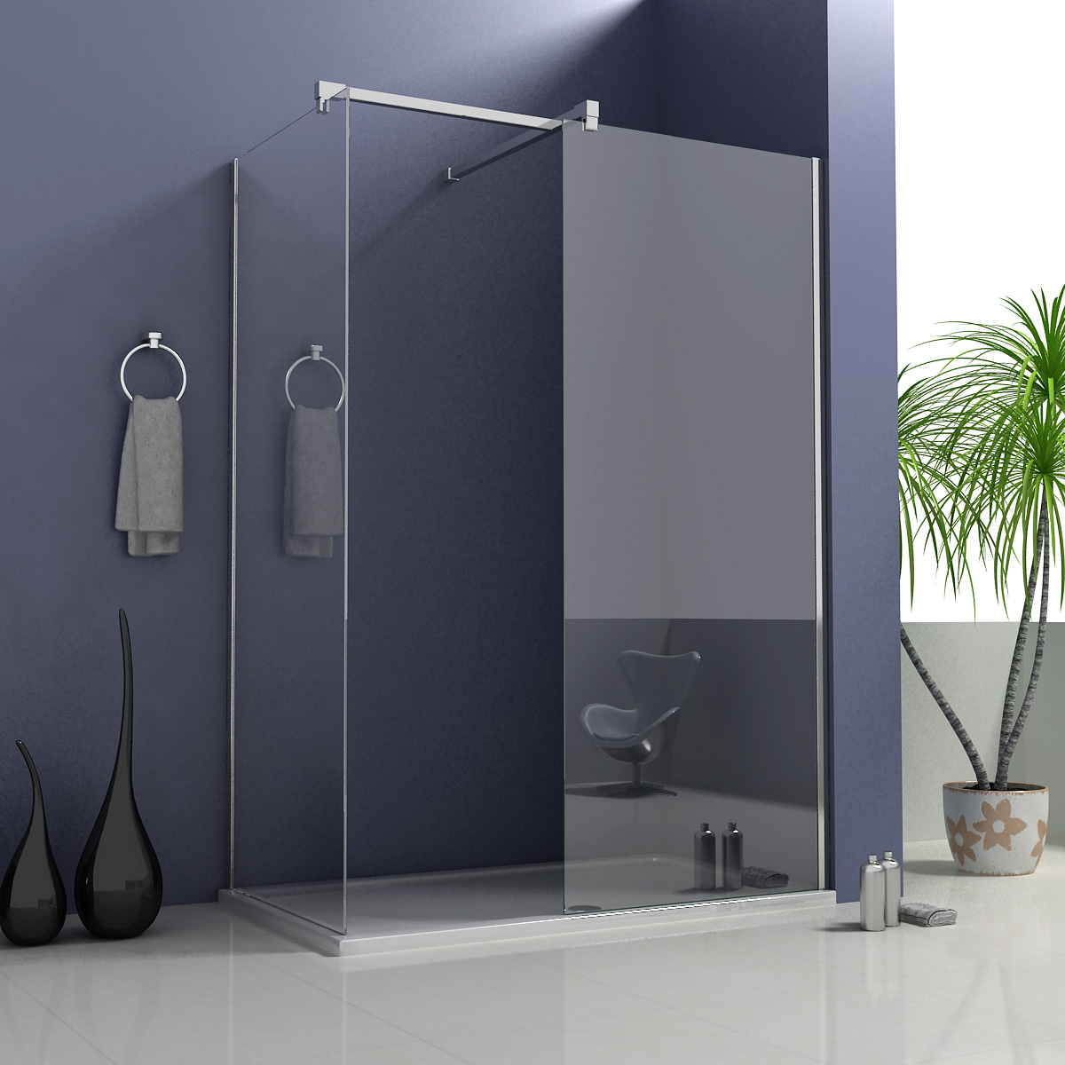 1950mm Walk in Wet Room Shower Enclosure Screen Cubicle Stone Tray ...