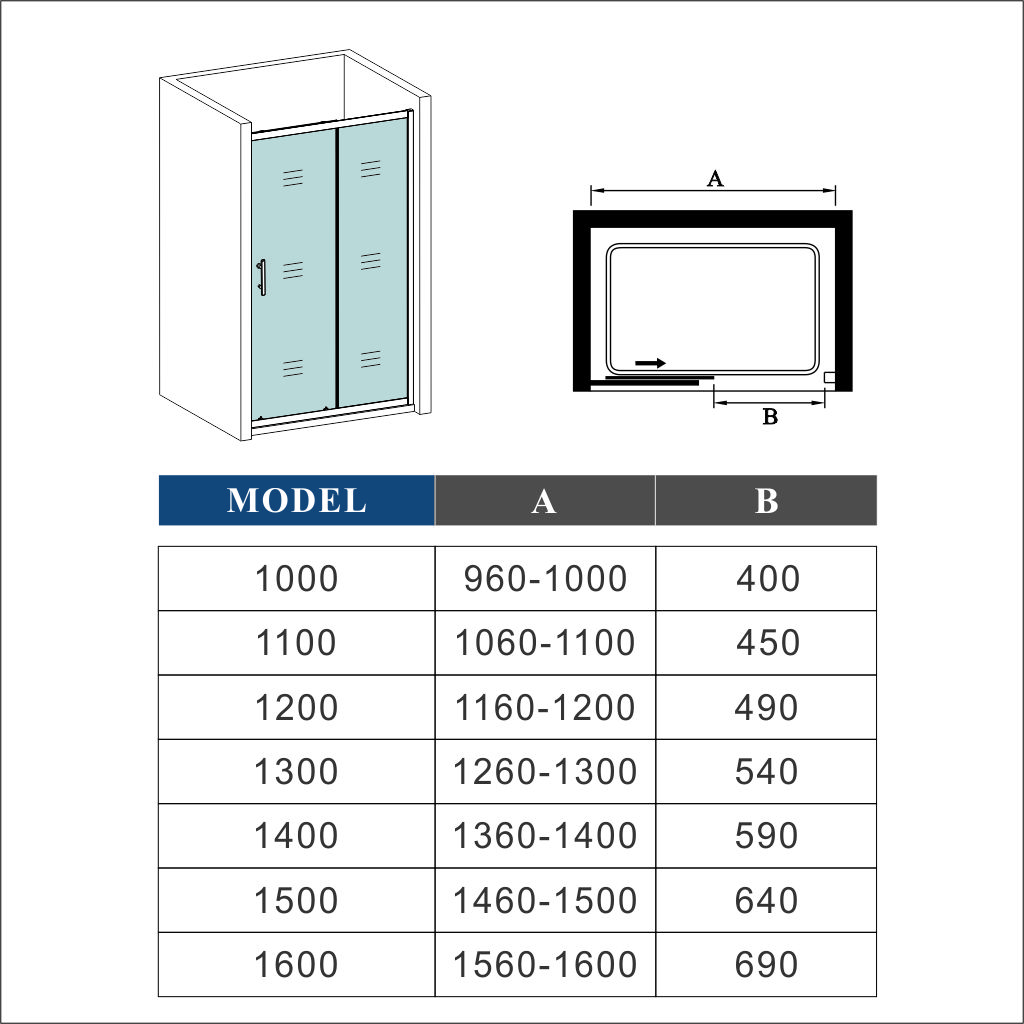 1000 1700mm Sliding Shower Enclosure Cubicle Screen Glass