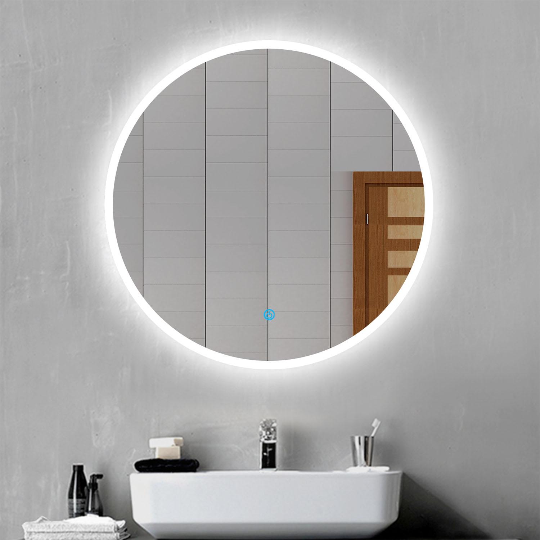 Round Led Illuminated Bathroom Mirror With Demister Touch Sensor Wall Decorative Ebay