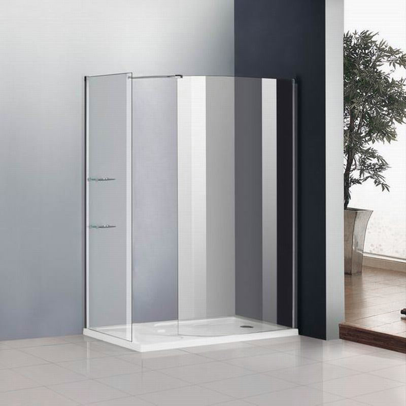 Walk In Shower Enclosure Cubicle 6mm Glass Screen+Side Panel+Stone ...