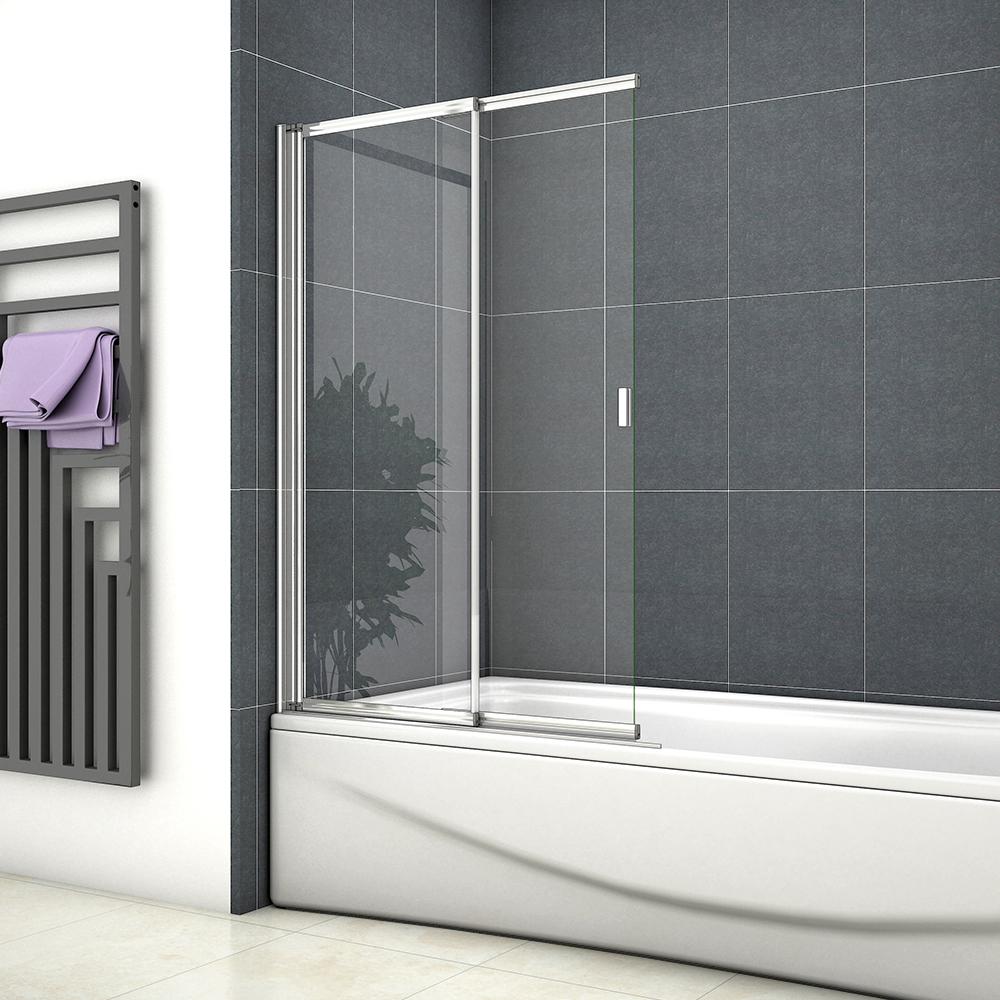 800x1400mm Over Bath Sliding Shower Screen Straight Framed