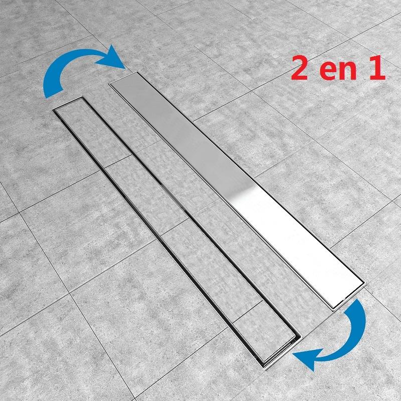 2 In 1 Canalina Canaletta Doccia Acciaio Inox Scarico Pavimento Griglia 50 90cm Ebay